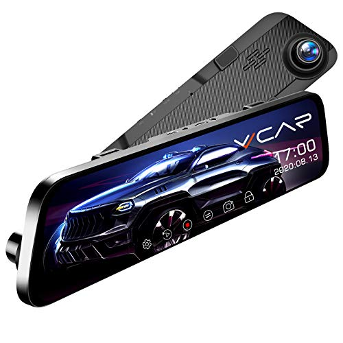 "VVCAR 12"" Mirror Dash Cam 1296P Backup Camera with GPS Touch Screen Front and Rear View Dual Lens Full HD WDR Night Vision, G-Sensor (Free 32GB SD Card) for Cars/Trucks"
