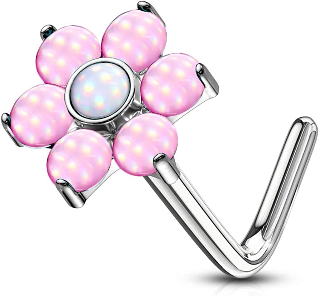 Amelia Fashion 20 Gauge Illuminating Stone Set Flower Top L Bend Nose Stud All 316L Surgical Steel (Choose Color)