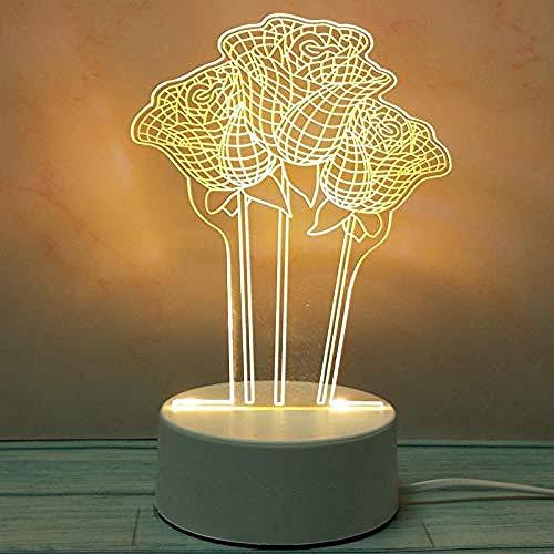 wangzj Luces de noche Luces de interior Lámpara de noche Luces de habitaciónMini-Rose Lámpara de mesilla Lámpara de mesa 3D Regalo de cumpleaños de niña