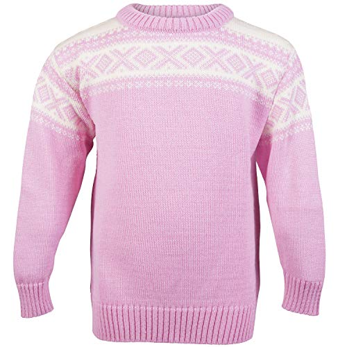 Dale of Norway Kinder Cortina Kids Pullover, Pink Candy/gebrochenes Weiß, 6 Jahre