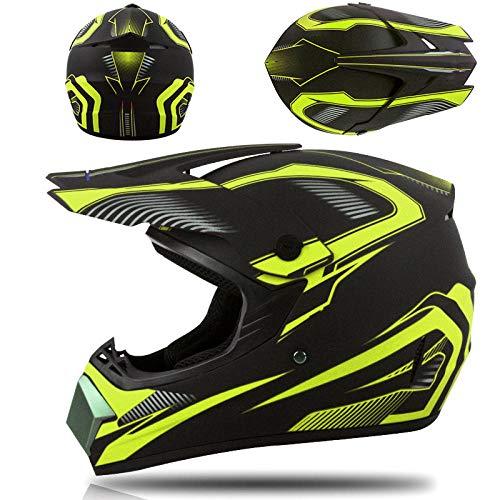 Elektrische motorhelm off-road helm jeugd skelter competitie integraalhelm veiligheidshelm-Geel phantom_S