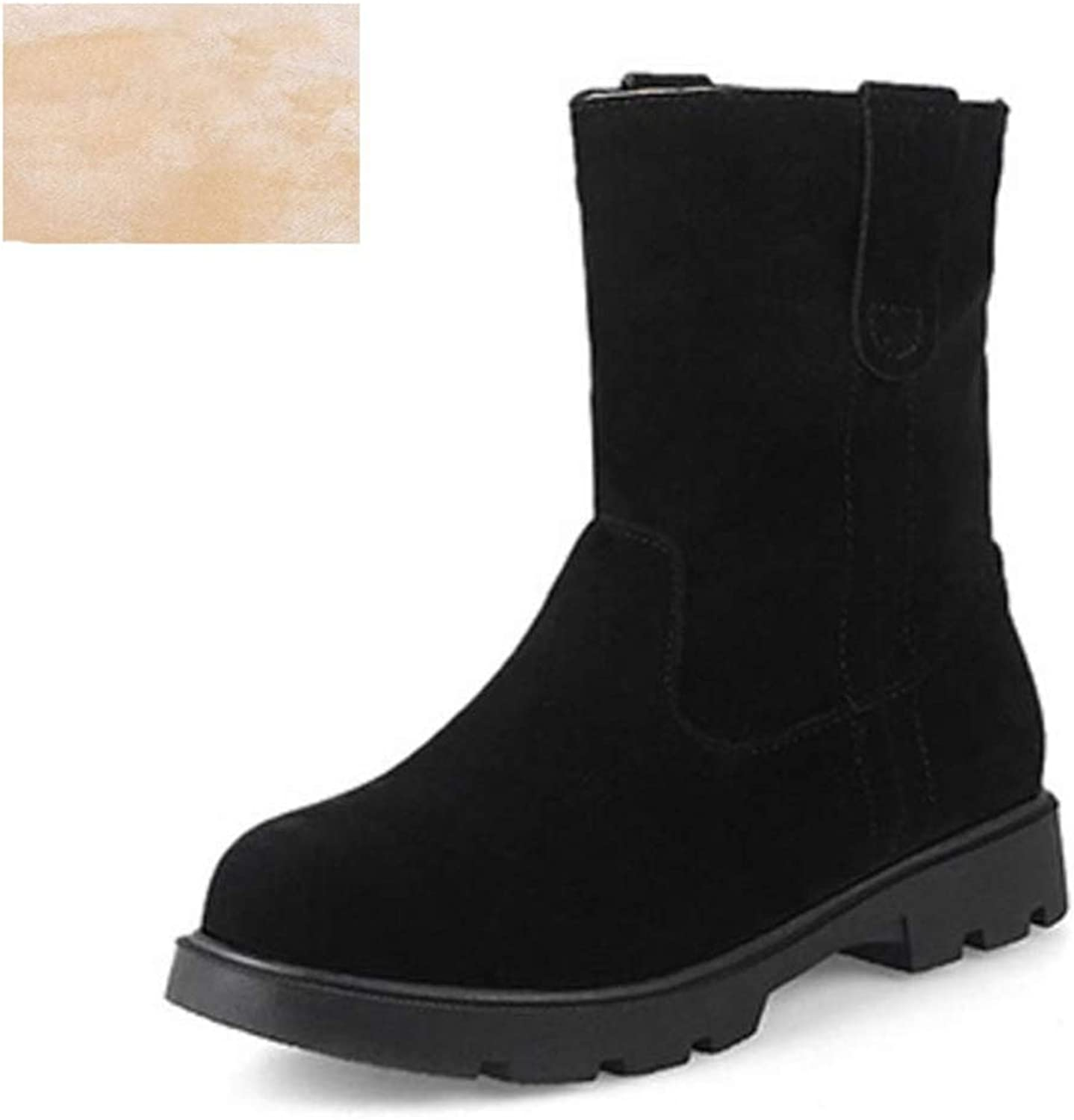 T-JULY Women's Half Short Snow Boots Thick Fur Flats Boots for Cold Winter Mid Calf Boots for Women Footwears