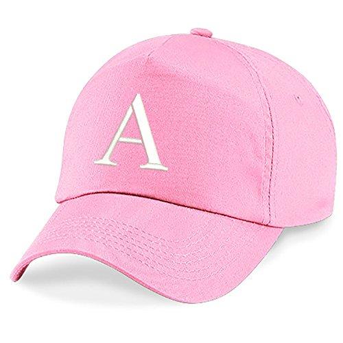 4sold Niños Escuela Bordado Gorra Niños Hat Alphabet A - Z Verde Rosa Claro (A)