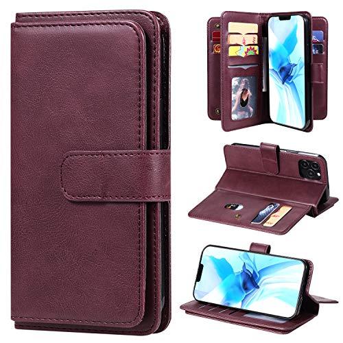 LODROC iPhone 12 Pro Hülle, TPU Lederhülle Magnetische Schutzhülle [Kartenfach] [Standfunktion], Stoßfeste Tasche Kompatibel für Apple iPhone 12 Pro 2020 - LOKT0200062 Rotwein