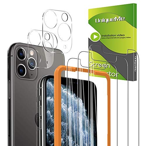 [5-Pack] UniqueMe 3 Pack Screen Protector for iPhone 11 Pro Max Tempered Glass +2 Pack Camera Lens Protector High Definition 【Alignment Frame Easy 】【NewVersion】 AddCamerasFlashCircle【 6.5 inch】