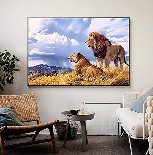 Lion Nordic Poster Leinwand Kunstdruck Löwin Leinwand Bild für Wohnzimmer Wandkunst Dekoration,Rahmenlose Malerei,45x67cm