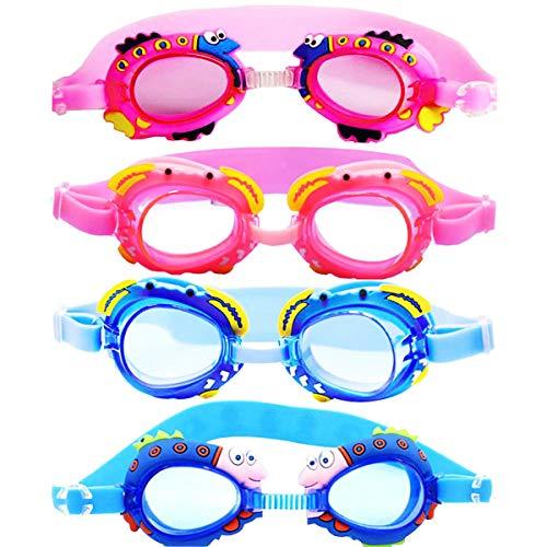 Biluer Occhialini Piscina Bambino, 4PCS Occhialini da Nuoto per Bambini di 4-12 Anni Antiappannamento Professionali-Protezione UV Impermeabili Kit Occhiali da Nuoto Unisex per Bambini di 4-12 Anni