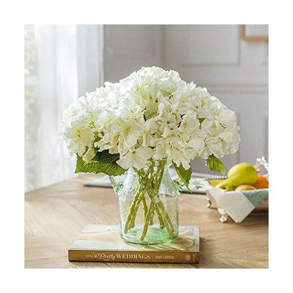 FagusHome 8 Piezas Hortensia Artificiales de Flores Artificiales con Tallos Flores Falsas para Decoración (Blanco)