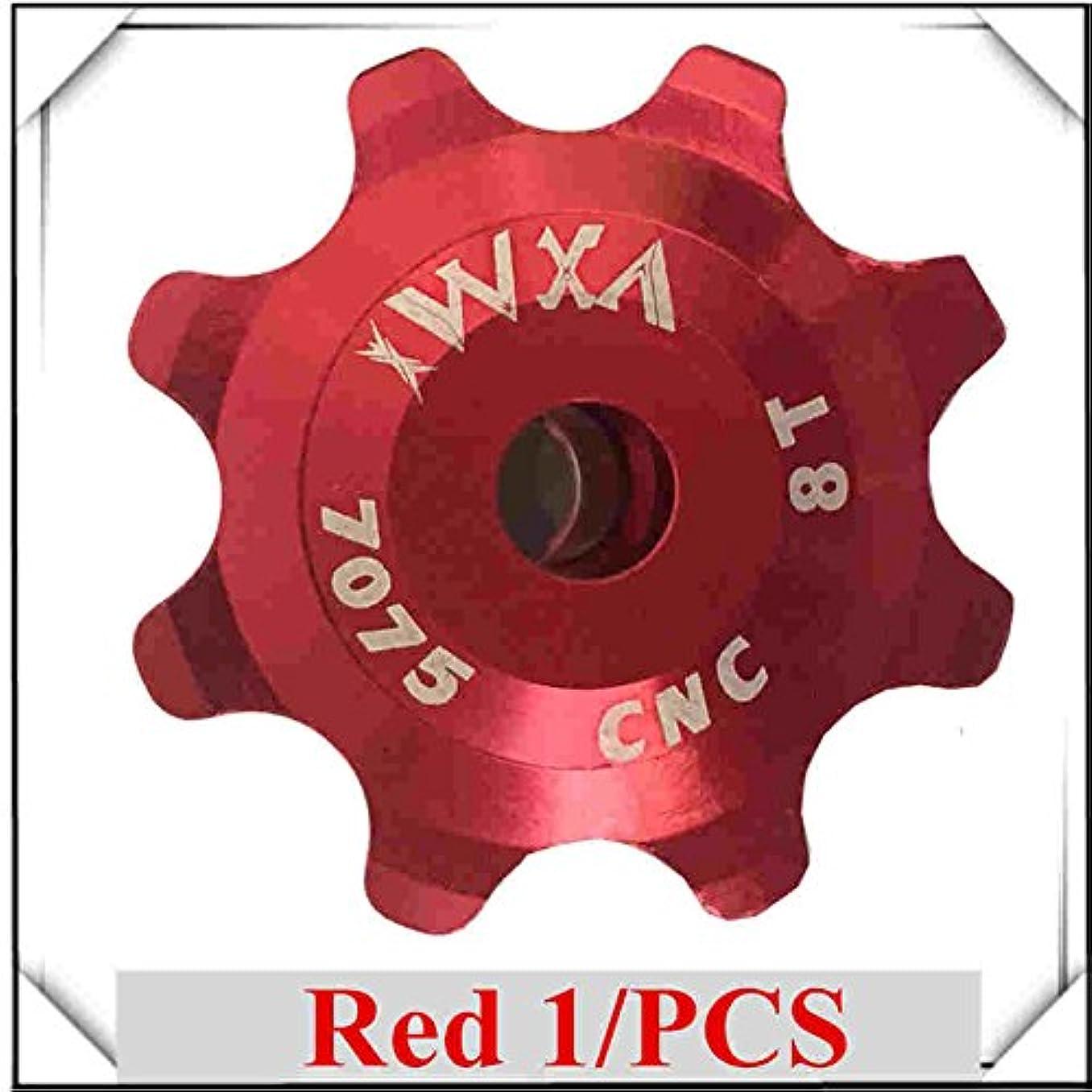 頭痛追跡同志Propenary - Bicycle Ceramics Jockey Wheel Rear Derailleur Pulley 8T 7075 Aluminum alloy Cycling guide pulley bearing bicycle parts [ Red ]