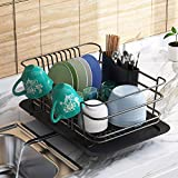 Dish Drying Rack, 1Easylife Dish Drainer for Kitchen Rustproof Dish Rack and Drainboard Set with Removable Utensil Holder and Adjustable Swivel Spout, Countertop or in Sink Dry Rack (Black)