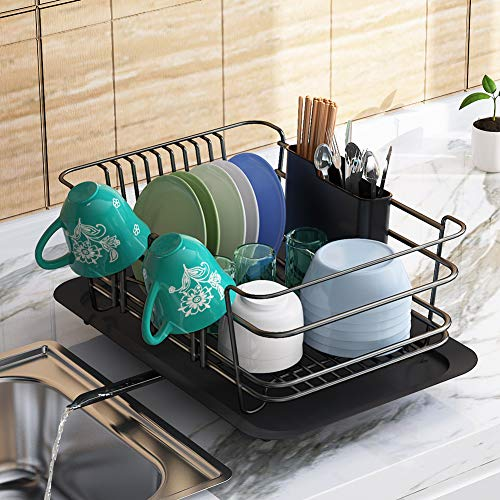 Dish Drying Rack 1Easylife Dish Drainer for Kitchen Rustproof Dish Rack and Drainboard Set with Removable Utensil Holder and Adjustable Swivel Spout Countertop or in Sink Dry Rack Black