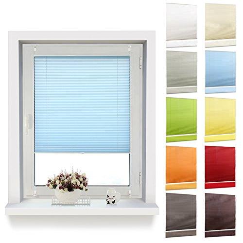 OUBO Plissee Klemmfix 35 x 120 cm (BxH) Blau, Jalousie ohne Bohren mit Klemmträgern für Fenster und Tur