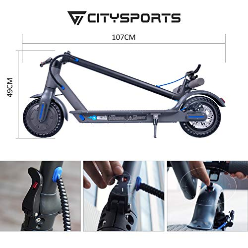 CITYSPORTS Elektroroller 8,5 Zoll, E-scooter Faltbarer Roller mit APP & Bluetooth, Akku 7,5 Ah Langlebig, 350 W, Elektro Scooter Erwachsener Ultraleicht - 5
