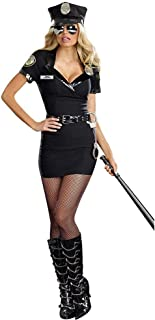 New Set Sexy Female Police Costume Adult Halloween Cosplay Police Officer Uniform Sexy Deep V Neck Policewoman Fancy Dress (Color : Black, Size : M)