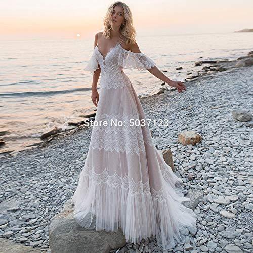 WANGMEILING Vestido de novia blanco Desnuda Boho tentadora Champagne boda Vestidos elegante cuello en V mangas del hombro correas de volantes de encaje una línea sin respaldo vestidos de novia