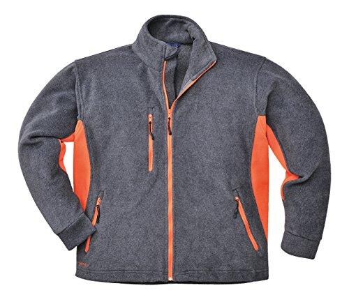 Portwest - Texo zware fleece anti-pill stof mantel jas outdoor werk rits met zakken - S, donkergrijs