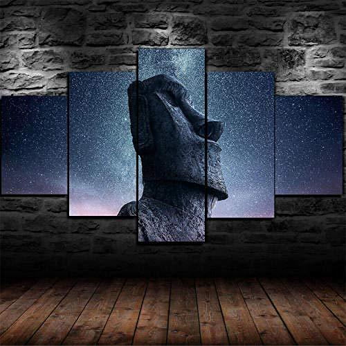 Cuadro Sobre Lienzo 5 Piezas Impresión En Lienzo Ancho: 150Cm, Altura: 100Cm Listo Para Colgar-Estatua Moai Cielo Estrellado En Un Marco