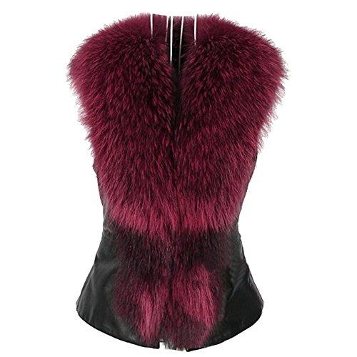 URIJK Faux Leather Vest Coats Plus Size Fake Fur Collar Clothes Women Leather Jackets