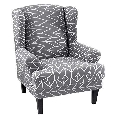 papasgix Ohrensessel Schonbezug, Elastische Sesselbezug Sesselüberwurf Sofaüberwurf Stretch Schutzhülle mit Modern Muster Sessel Husse für Ohrensessel (B-Graue Streifen B)