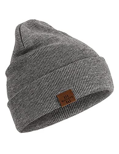 Wmcaps Gorro Hombre, Gorros de Punto Hombre Mujer Unisex Slouch Cráneo Sombreros, Diseño Clásico Moderno y Suave (Gris)