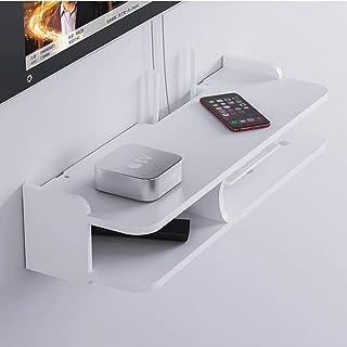 2 Niveles Router Wifi Estante, montado en la pared de madera de la decoración estante de exhibición de diseño abierto ahor...