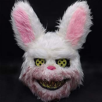 Halloween Scary Mask Rabbit Bunny Mask Bloody Plush Animal Head Mask Halloween Cosplay Costume Props Halloween Party for Adults and Teens