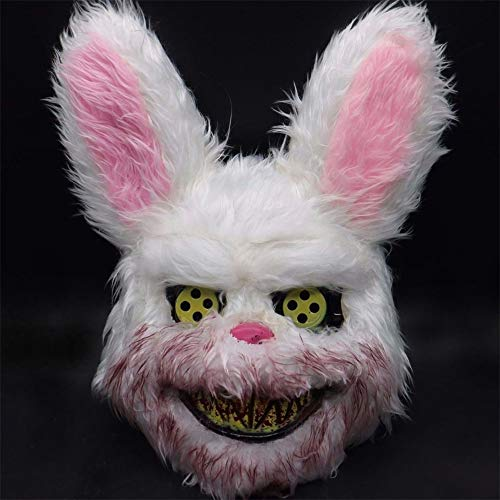 Halloween Scary Mask Rabbit Bunny Mask, Bloody Plush Animal Head Mask, Halloween Cosplay Costume Props Halloween Party for Adults and Teens