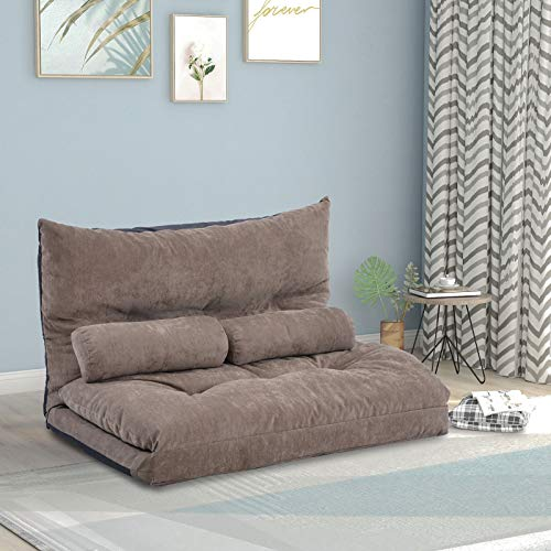 Lazy Sofa Bed Adjustable Floor Sofa Bed Foldable Futon Furniture Sleeper Gaming Sofa Mattress Futon Couch Bed Folding Guest Chaise Lounge Convertible Upholstered Chair with 2 Pillows (Light Brown)