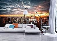 カスタムウォールクロス3Dニューヨークシティサンセットランドスケープ写真壁画壁紙寝室リビングルーム背景壁装材家の装飾-350cmx256cm(137.8x100.8inch)