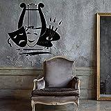 Calcomanía de vinilo para pared,pintura artística,teatro,música,sala de estar,pegatina de pared,adhesivo de fondo,pegatina de pared única, A9 43X42cm