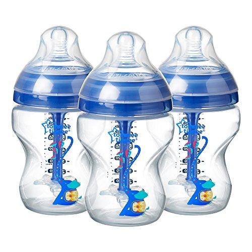 Tommee Tippee Versierd 0m+ Anti-koliek Natuurlijke Borstvoeding Fles Bpa Gratis 3 stuks. 260 ml Blauw