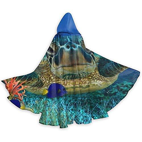 KDU Fashion Capa De Mago,Tortuga Bajo El Mar Capa con Capucha Suave Cómodo Mago Capa para Disfraces De Brujas Cosplay 40x150cm