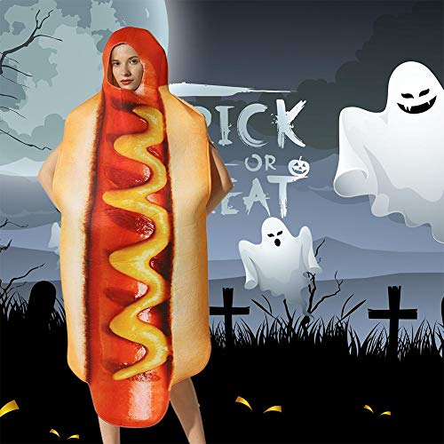 Corwar Halloween Cosplay Hot Dog Kostüm Hot Dog Brot Halloween Weihnachten Kostüm Kinder Unisex Wurst Anzug Carefully