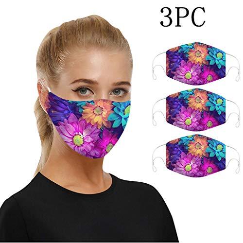 Reni - 3 protectores bucales elegantes para adultos con estampado 3D y braga para el cuello, transpirable, protección para la boca y la nariz (M)