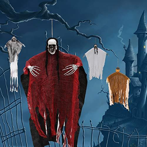 LessMo Esqueletos Fantasma Tenebrosos Colgantes, de Fantasma Esqueleto Colgante de Halloween, para la decoración de la Fiesta en el jardín del Patio del Patio Delantero y Decoraciones navideñas