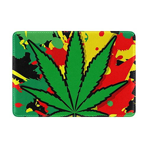 MyDaily Schutzhülle für Reisepass, Leder, Marihuana-Blatt-Design, Mehrfarbig