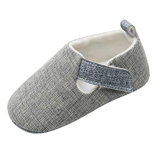 Kleinkind Schuhe für Kinder/Dorical Unisex Babyschuhe Jungen Mädchen Neugeborene Baby Babyklettschuh Weiche Unifarben Hausschuhe Freizeitschuhe Krabbelschuhe(Grau,20.5 EU)