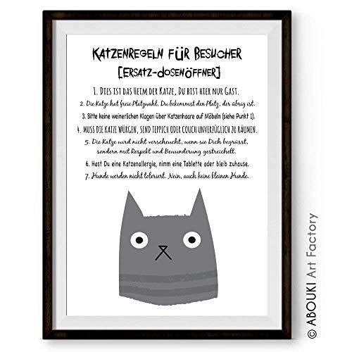 Katzenregeln Besucher - Kunstdruck ungerahmt, DIN A4