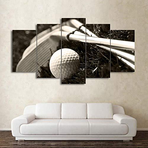 Eternity-Moderne muurkunst poster wooncultuur 5 panelen golfclub en bal woonkamer Hd Print schilderij modulaire canvas