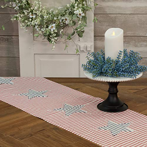 Piper Classics Stitched Star Ticking Stripe Table Runner, 54