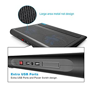 Laptop Cooling Pad, TeckNet Portable Ultra-Slim Quiet Laptop Notebook Cooler Cooling Pad Stand with 2 USB Powered Fans, Fits 12 -16 Inches