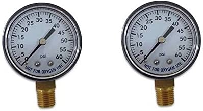 2 Pack Pool Spa Filter Water Pressure Gauge 0-60 PSI 1/4