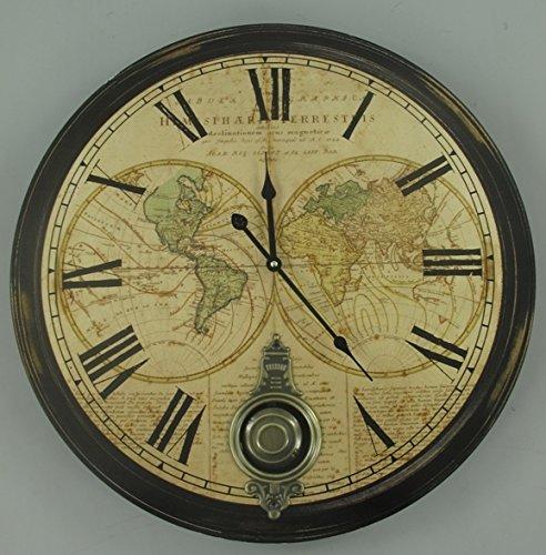Clever-Deko Reloj de pared grande XXL con péndulo colonial estilo rústico nostálgico antiguo 60 cm reloj de péndulo