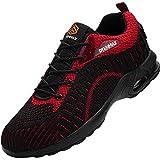 Fenlern Zapatillas de Seguridad Hombre Ligero Colchón Zapatos de Trabajo con Punta de Acero Transpirable Calzado de Seguridad (Tomate Rojo,42 EU)