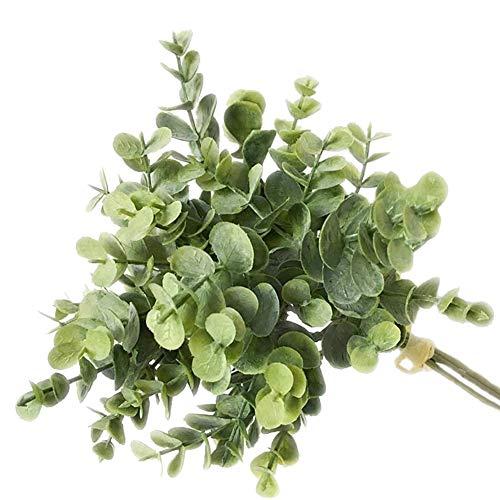 NAttnJf Artificiales Flores Eucalipto Artificial 1 Ramo de Plantas Artificiales de Hoja Falsa de eucalipto para el Banquete de Boda de Bricolaje decoración para el hogar Verde Gris