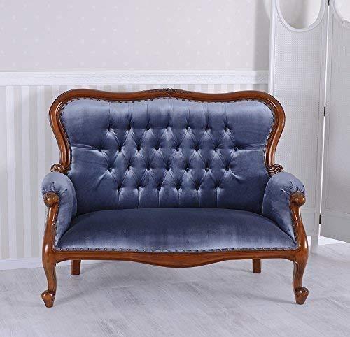 Boudoir Sofa Kanapee Antik Couch Samt Mahagoni Sitzbank Vintage Palazzo exklusiv