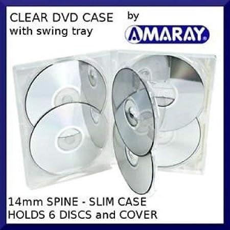 Amaray - Estuche para DVD Multi 6 (5 unidades, 6 vías, en transparente, para guardar 6 discos en embalaje de la marca Dragon Trading, 5 unidades)