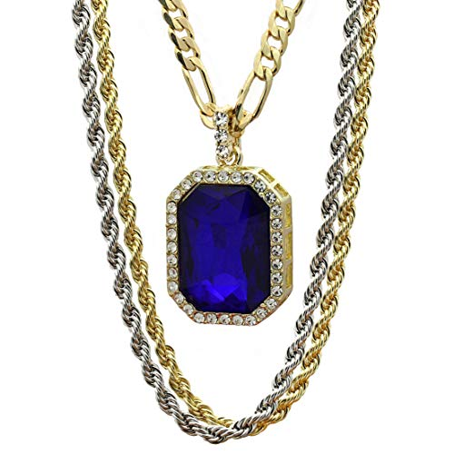 Mens 14k Gold Plated Cz Octagon Blue Ruby Pendant Hip Hop 18' Figaro 24' Rope Chains