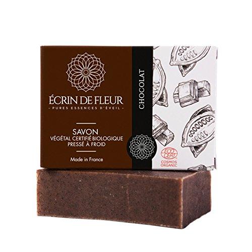 ÉCRIN DE FLEUR | Zertifiziert organische von Ecocert | Schokoladenseife | in Frankreich handgemacht | Naturseife kaltgerührt | Delikate reichhaltige Kakaobutter Stückseife | Ohne Palmöl & SLS | 100g