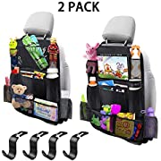 """MIBOTE-UK Car Backseat Organizer 2 Pack 11 Storage Pockets Kick Mats Organiser with 10"""" Touch Screen Tablet Holder Car Seat Back Protectors with 4 plastic hooks for Kids and Toddlers"""